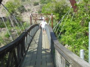Roger on the bridge leaving the park